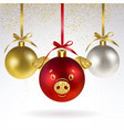 decorative christmas balls with stylized pig face vector image vector image