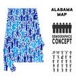 demographics alabama state map vector image