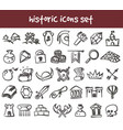 doodle historic icons set vector image