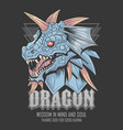 dragon head blue and horn tshirt element vector image vector image