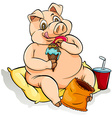 Eating like a pig idiom vector image vector image