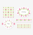 embroidery floral decorative elements set vector image