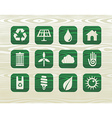 Environmental green icons in organic wood vector image
