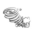 figure tornado taking and destruction a house vector image vector image