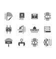 Floor heating black monochrome icons set vector image vector image
