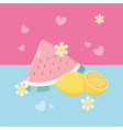 fresh watermelon and oranges fruits vector image vector image