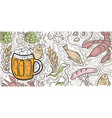 glass beer on doodle background vector image