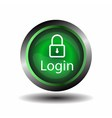 Green round Glossy Login icon vector image vector image