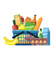 grocery basket with food assortment flat vector image vector image