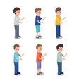 group of boys characters vector image