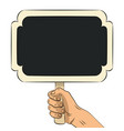 hand drawn hand holding wooden chalkboard vector image vector image
