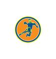 Handball Player Jumping Throwing Ball Circle vector image vector image