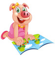 happy pig reading a book vector image