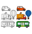 line and colorful transport set vector image
