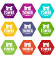 luxury tower icons set 9 vector image vector image