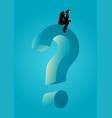 man sitting on big question mark symbol vector image vector image