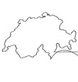 map of switzerland continous line vector image