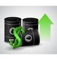 oil barrel with green arrow vector image vector image