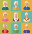 old people faces women grey-headed vector image