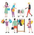 people with purchase sale old collection vector image vector image