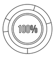 Pie chart circle graph 100 percent icon vector image vector image