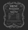 restaurant menu blackboard vintage hand drawn vector image