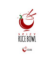 rice bowl icon with chopstick and chili vector image vector image