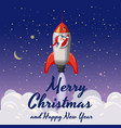 santa claus on a rocket flies in space merry vector image vector image