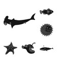 sea and animal symbol set vector image vector image