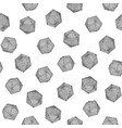 seamless hand-drawn crosshatched icosahedron print vector image vector image