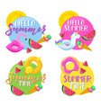 set circle summer stickers badges labels and vector image vector image