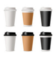 set coffee cups mockup template for cafe vector image vector image