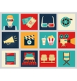 set movie design elements and cinema icons vector image