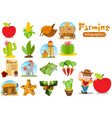 set of infographics on farming agriculture color vector image