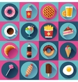 Set of Modern flat icons with FastFood vector image
