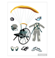 Set of Paraglider Equipment on White Background vector image vector image