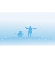 Silhouette of Santa and snowman Christmas vector image vector image