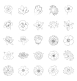 simple black outline flower icon set vector image vector image