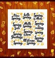 spring greeting calligraphy vector image vector image