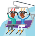 two happy skiers using cableway at ski resort vector image vector image
