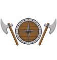 viking axes and shield hand drawn colored sketch vector image vector image