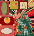 Vintage Christmas background with frames vector image vector image