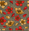 vintage colorful japanese floral seamless pattern vector image