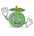 waving guava character cartoon style vector image vector image
