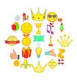 winning icons set cartoon style vector image