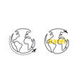 world with continents and flying airplane travel vector image vector image