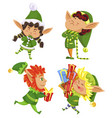 xmas elves with presents dwarfs with gifts set vector image vector image