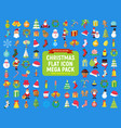 cute christmas graphic flat icon mega pack vector image