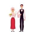 Waiter in uniform and cook chef waitress vector image