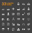 33 logistic icons vector image vector image